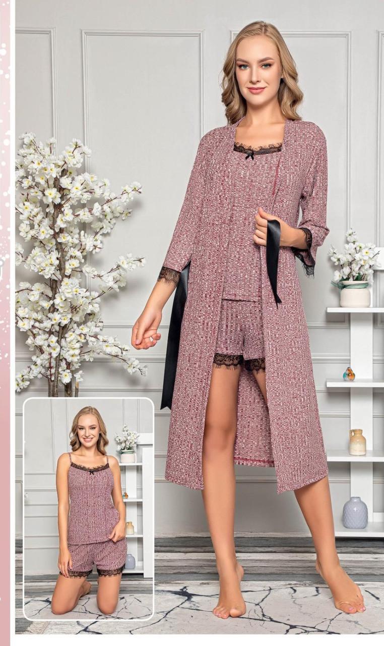 Піжамний комплект топ, шорти і халат Inspiration