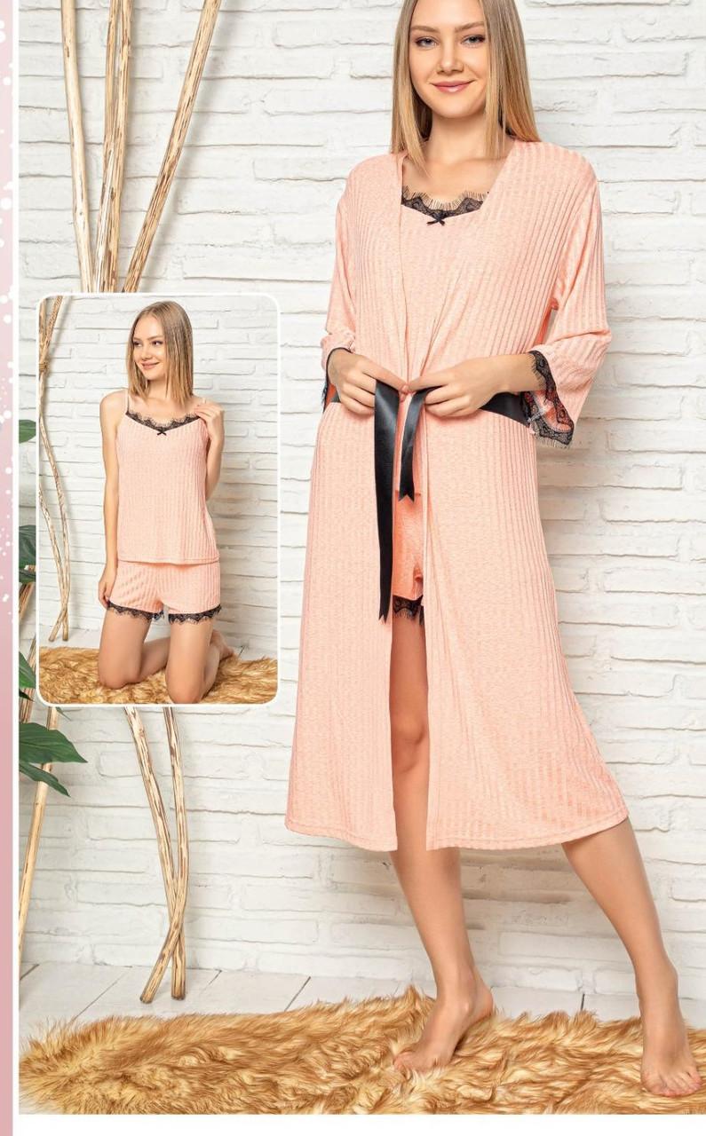 Пижамный комплект топ, шорты и халат  Noblewoman