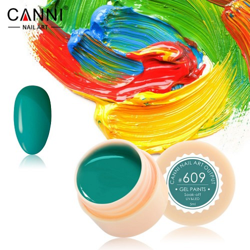 Гель-краска Canni №608 весенне-зеленая, 5 мл