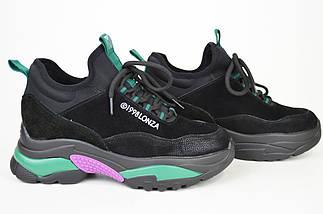 Кроссовки женские черно-зеленые замш-кожа Lonza 80013, фото 2