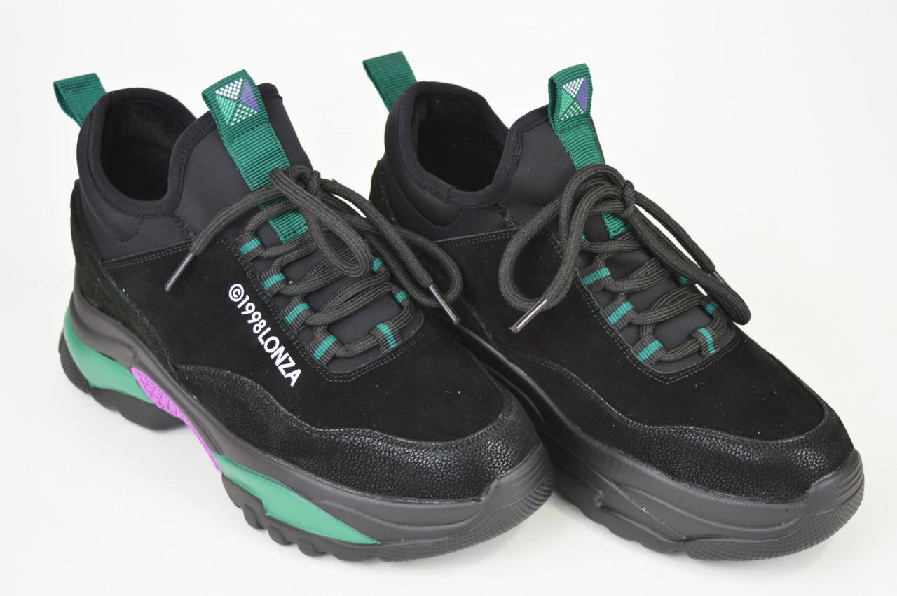 Кроссовки женские черно-зеленые замш-кожа Lonza 80013