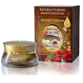 Обновляющий ночной крем с аргановым маслом, натуральным розовым маслом и креатином Argan & Rose