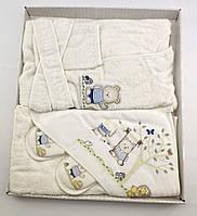 Подарочный набор банный халат от 0 до 2 лет  для купания подарок для новорожденных на новорожденного, фото 1