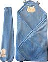 Осінній весняний комплект конверт на виписку хлопчику 90х100 для новонароджених з вушками махровий блакитний, фото 5