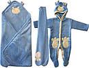 Осінній весняний комплект конверт на виписку хлопчику 90х100 для новонароджених з вушками махровий блакитний, фото 2