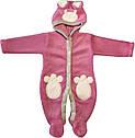 Осенний весенний комплект конверт 90х100 демисезонный на выписку из роддома с ушками махровый розовый для новорожденных девочке Р736, фото 6