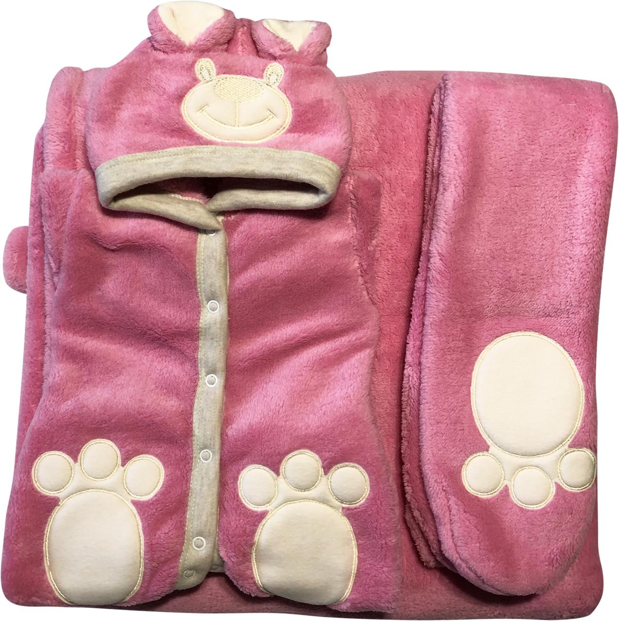Осенний весенний комплект конверт 90х100 демисезонный на выписку из роддома с ушками махровый розовый для новорожденных девочке Р736