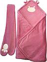 Осенний весенний комплект конверт 90х100 демисезонный на выписку из роддома с ушками махровый розовый для новорожденных девочке Р736, фото 5