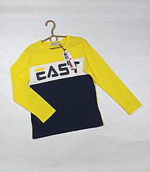 Батник  трикотажный для мальчика жёлтый + темно-синий EAST на 12  лет