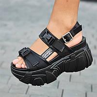Босоножки сандалии женские черные на платформе (код 1253) - жіночі босоніжки сандалі на платформі чорні