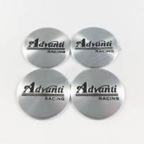 Наклейки для колесных колпачков в легкосплавные диски с логотипом   Advanti серые/черный лого (45 мм)
