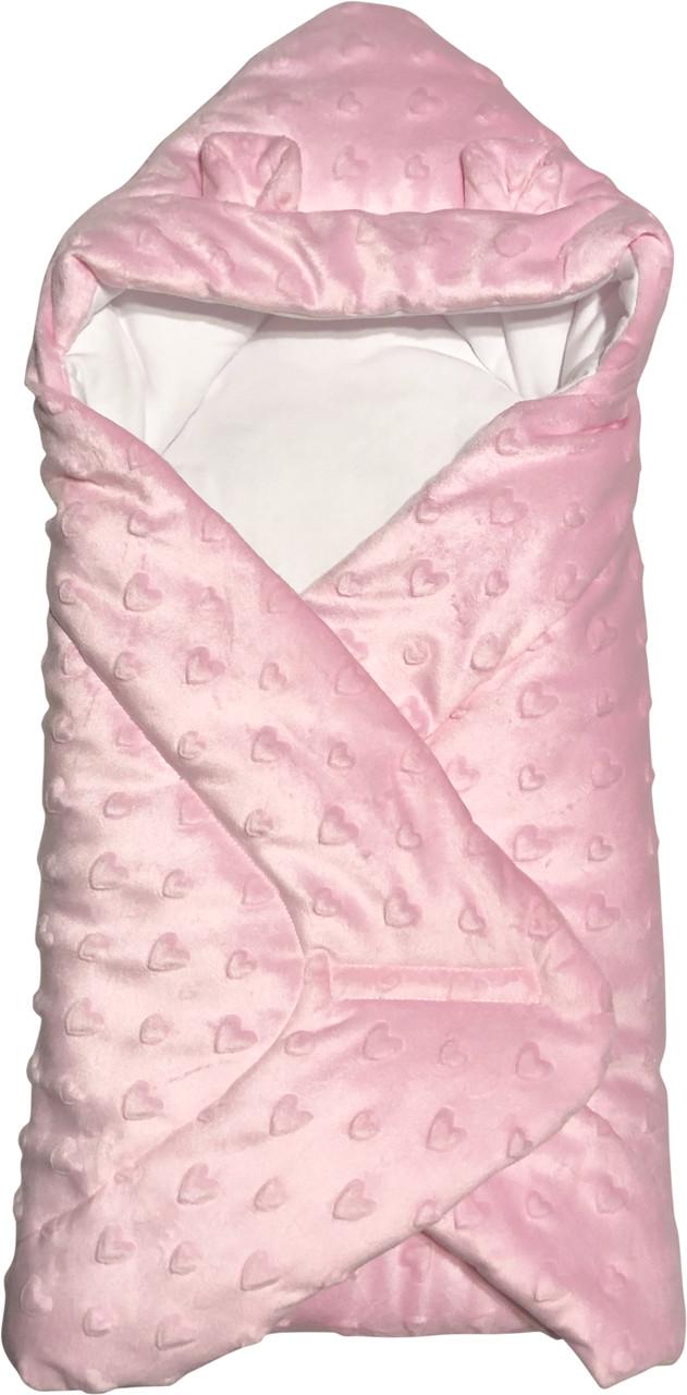Осенний весенний утеплённый конверт 75х70 демисезонный на выписку из роддома с ушками плюшевый розовый для новорожденных девочке Р817