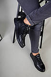 Кроссовки мужские кожаные черные на черной подошве, фото 4