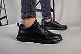 Кроссовки мужские кожаные черные на черной подошве, фото 7