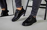 Кроссовки мужские кожаные черные на черной подошве, фото 9