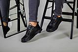 Кроссовки мужские кожаные черные на черной подошве, фото 8