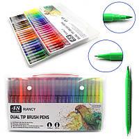 Набор двухсторонние скетч маркеры 48 цветов линер 0.4 мм и кисть фломастер 2 мм в чемоданчике на водной основе