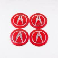 Наклейки для колесных колпачков в легкосплавные диски с логотипом   Acura красный/хром лого (56 мм)