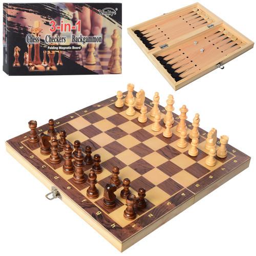 Деревянный набор 3 в 1 (шахматы, шашки, нарды) W7702