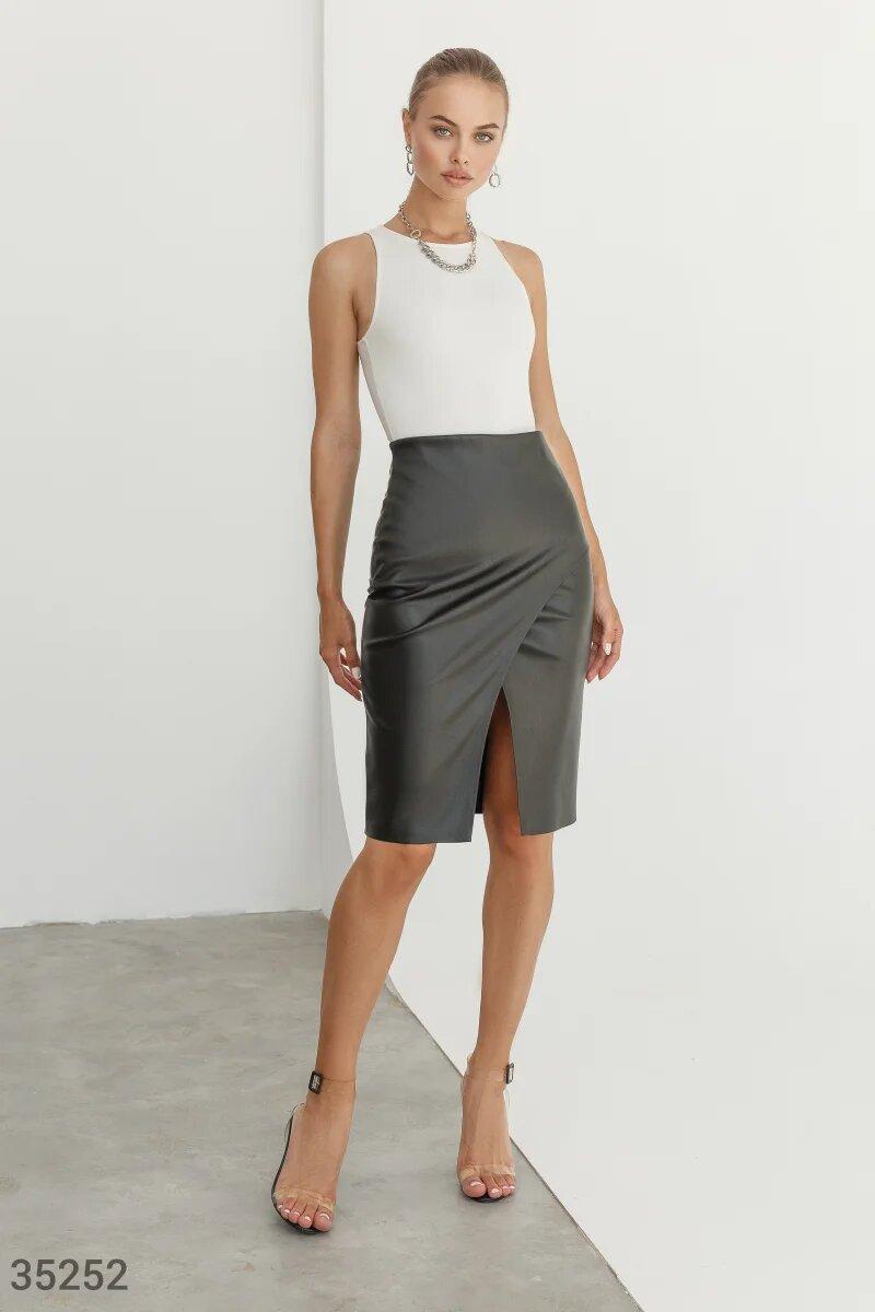 Трендовая  женская юбка-карандаш из кожи XS S M L XL