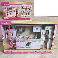 Кукла Дефа Defa 6085 Кухня, продукты, посуда, свет, Кухня для барби