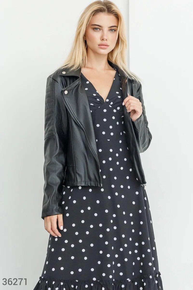Кожаная короткая черная женская куртка  S M L XL