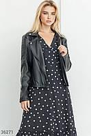 Кожаная короткая черная женская куртка  S M L XL, фото 1