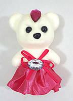 """С малиновой юбкой -игрушка для букетов """"Романтик-плотный мишка 11см"""", фото 1"""