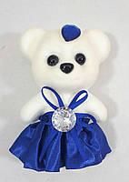 """С синей юбкой -игрушка для букетов """"Романтик-плотный мишка 11см"""", фото 1"""