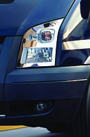 Ford Transit 2000-2014 гг. Накладки на фары (2 шт, нерж) Carmos - Турецкая сталь