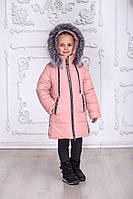 Зимняя куртка пальто на девочку удлиненная курточка детская теплая на синтепоне пудровая 7-10 лет, фото 1
