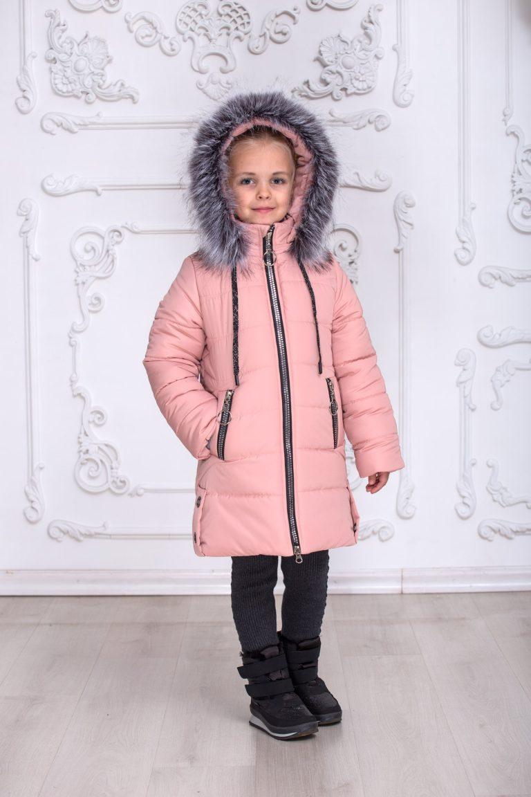 Зимняя куртка пальто на девочку удлиненная курточка детская теплая на синтепоне пудровая 7-10 лет