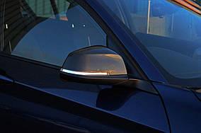 BMW 1 серия 2011↗ гг. Накладки на зеркала (2 шт, натуральный карбон)