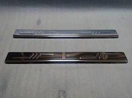 Fiat Scudo 2007-2015 рр. Накладки на пороги (Omsa, 2 шт., нерж.)