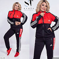 Женский костюм спортивный подросток батал на каждый день штаны мастера Адидас чёрный красный 48-50-52-54
