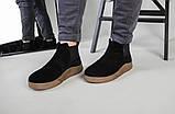 Мужские черные замшевые зимние ботинки на резинке, фото 2