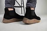 Мужские черные замшевые зимние ботинки на резинке, фото 6