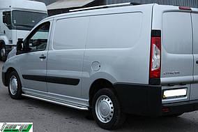Fiat Scudo 2007-2015 рр. Бічні пороги Premium (2 шт., нерж.) 42 мм, коротка база