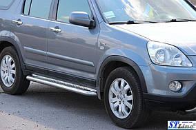 Honda CRV 2001-2006 рр. Бічні пороги Premium (2 шт., нерж) 60 мм
