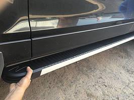 Audi Q7 2005-2015 гг. Боковые пороги Maya V1 (2 шт., алюминий)