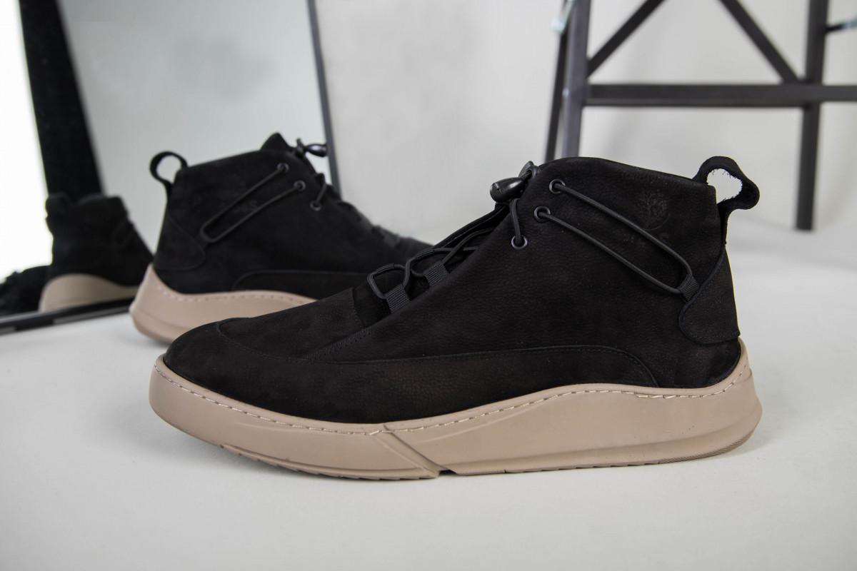 Мужские черные зимние ботинки из нубука