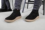 Мужские черные зимние ботинки из нубука, фото 8