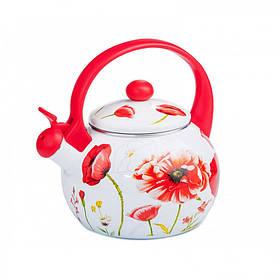 Чайник эмалированный со свистком 2,2 л RED HANDLE Interos 12/L 79887