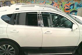 Nissan Qashqai 2010-2014 рр. Хром дверних стійок (4 шт, нерж) OmsaLine - Італійська нержавійка