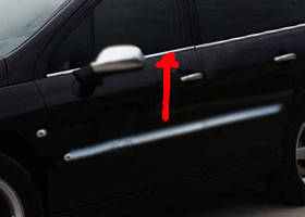 Peugeot 407 Наружняя окантовка стекол (4 шт, нерж) OmsaLine - Итальянская нержавейка