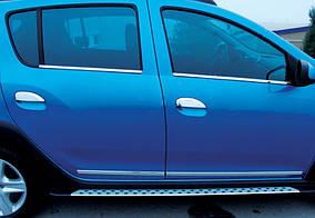 Накладки на ручки (4 шт., нерж.) Carmos - Турецька сталь Renault Logan III 2013↗ рр.