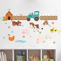 """Детская интерьерная виниловая наклейка на стену в детскую комнату """"Трактор с животными"""""""