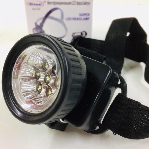 Налобный фонарь на батарейках DQ-539-7/ 3AAA x 7 LED+COB (240 шт/ящ)