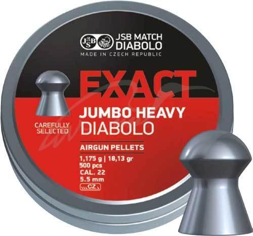 Пули пневматические JSB Diabolo Exact Jumbo Heavy. Кал. 5.52 мм. Вес - 1.17 г. 250 шт/уп