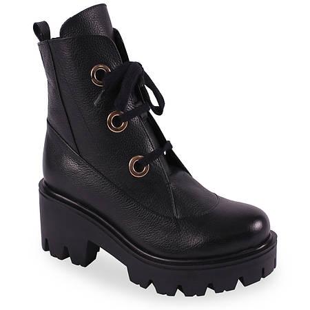 Стильные ботинки Lottini(натуральная кожа, на шнуровке, тракторная подошва,  удобные, черные) b02d72ae10c